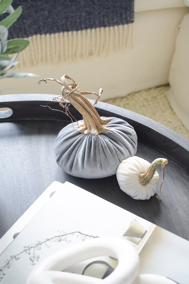 Chunky Wovens for Fall - gray and white velvet pumpkins