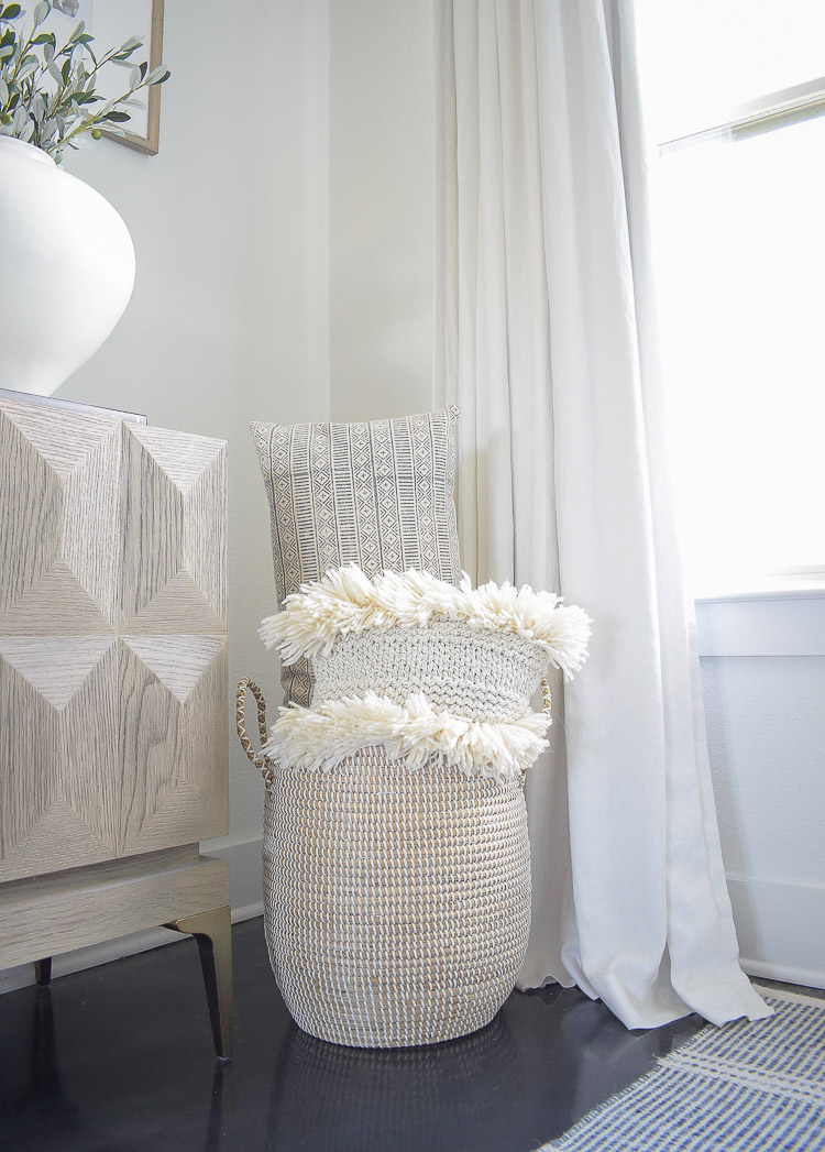ZDesign At Home Fall Home Tour - basket full of boho pillows