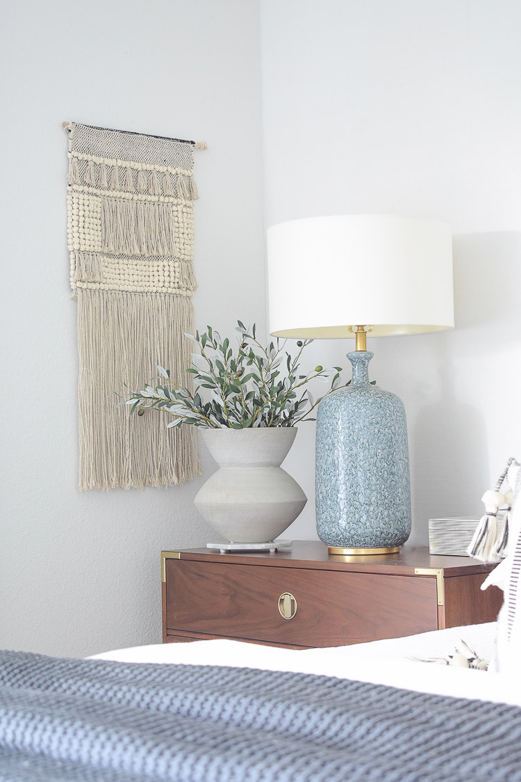 Fall bedroom tour - faux olive branches in gray scratch vase