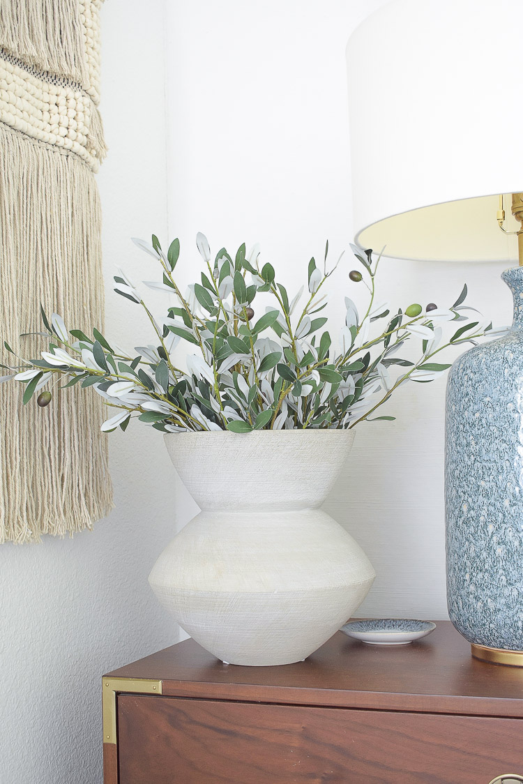 Best Faux Olive Stems in gray scratch vase