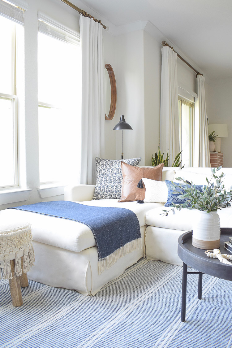 Fall Transition Home Tour - blue white navy leather pillows for fall