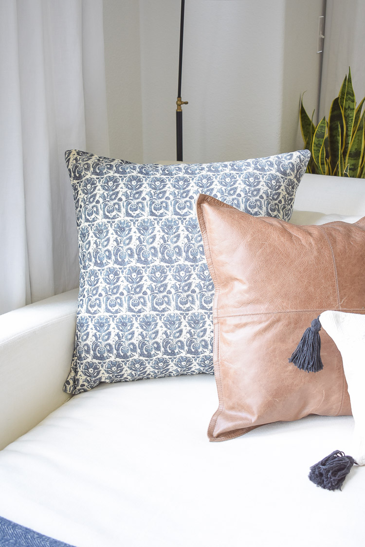 Fall Transition Home Tour - blue, white, navy, leather pillows for fall