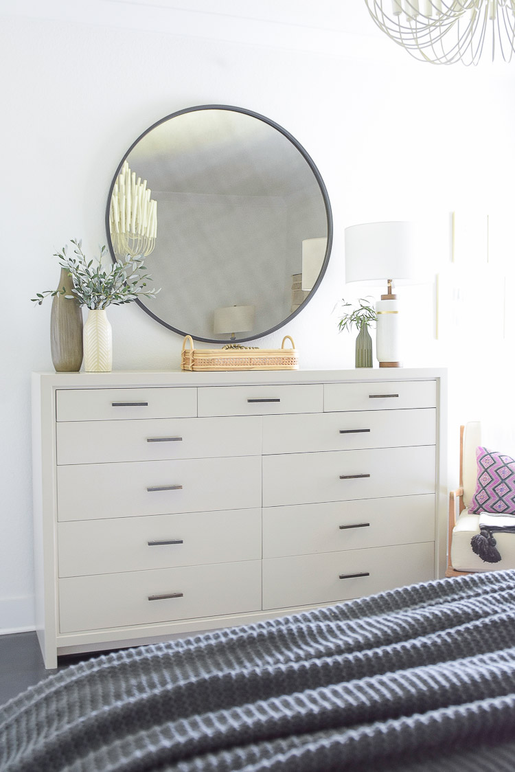 Fall bedroom Tour - gray oversized dresser and round black mirror