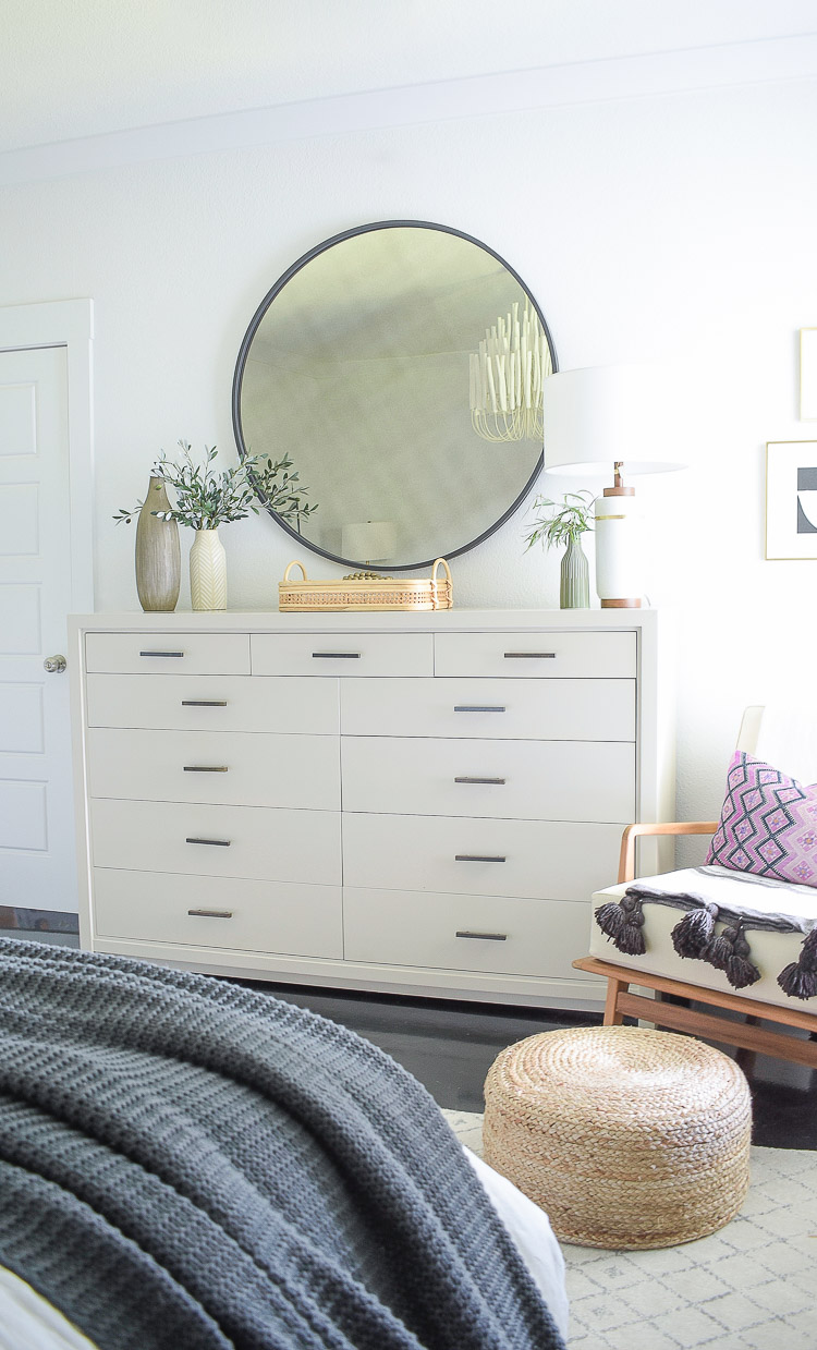 fall bedroom tour - gray oversized dresser with brass hardware, black round mirror