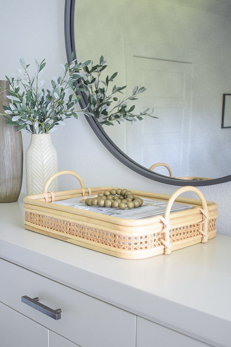 rattan basket / tray with wooden bead accessories
