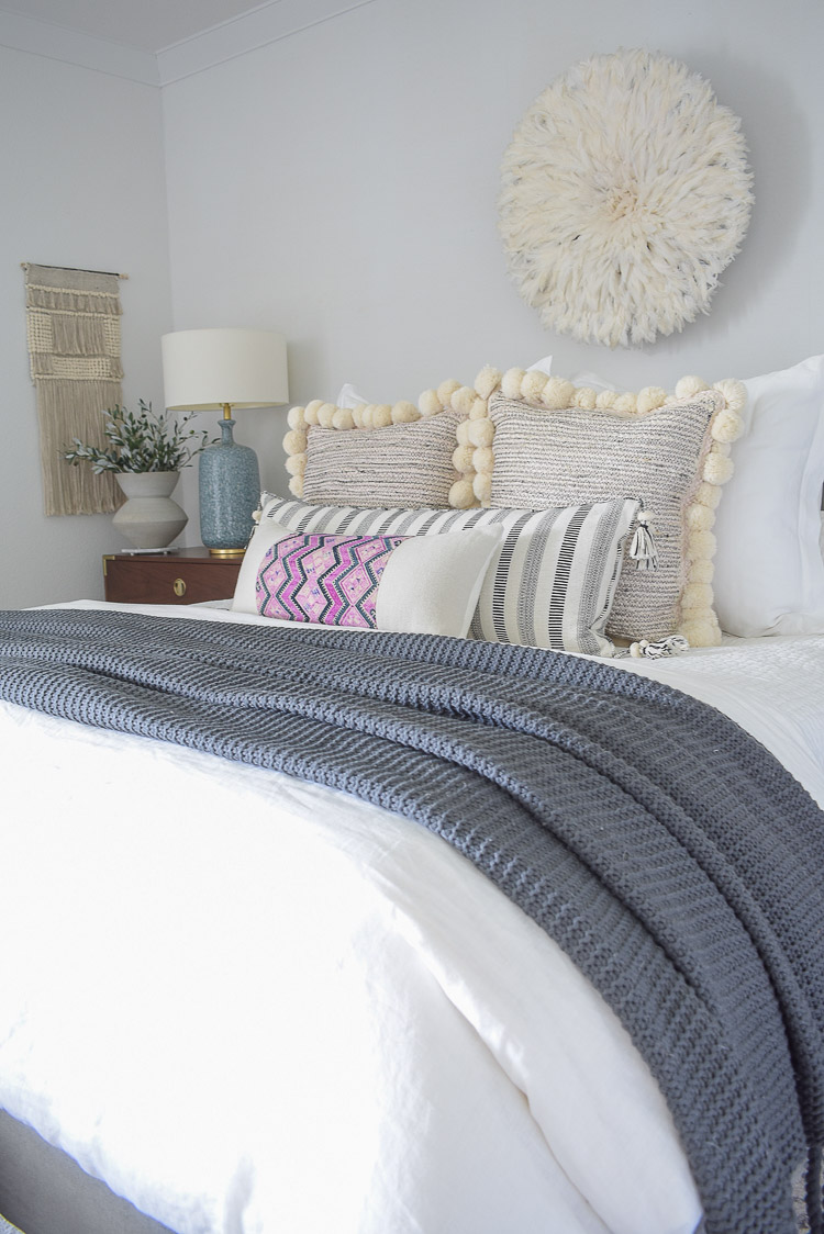 Fall bedroom Tour - pom pom pillows, black and white lumbar pillow, Chinese wedding blanket pillow