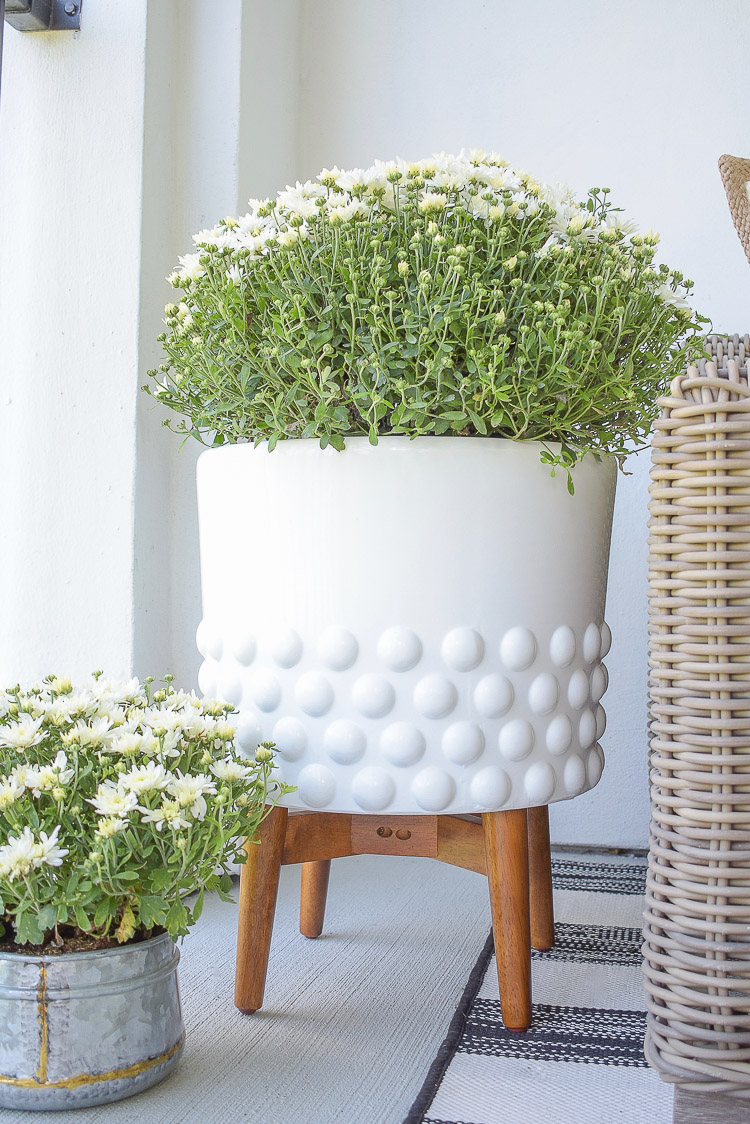 A Cozy Modern Fall Patio Tour - White Dotted Pot, outdoor planter