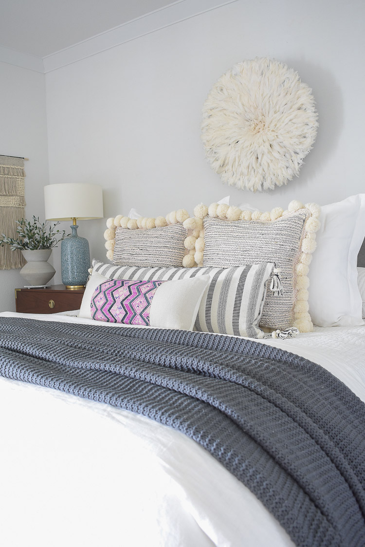 Fall bedroom tour - boho chic bedroom with pom pom pillows, gray tassel throw, Chinese wedding blanket pillow