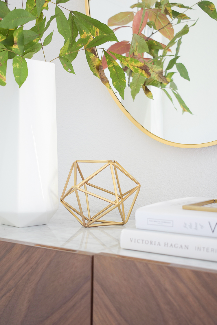 Chic Modern Styled Fall Entry - gold sphere home accessory