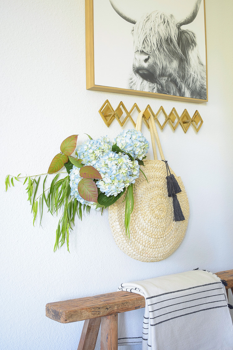 Chic Modern Fall Entry Way - Fall flowers in basket