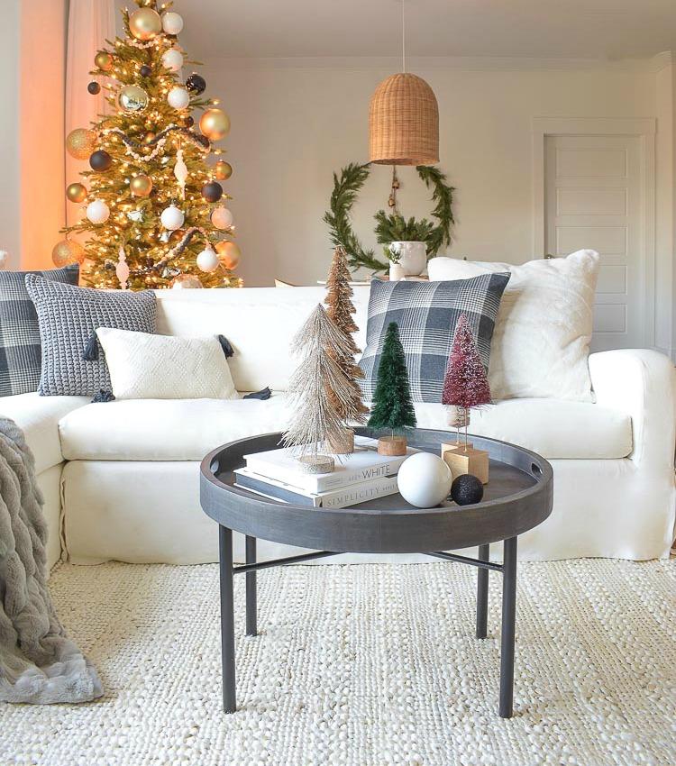astounding black white christmas living room | Black, White & Gold Modern Christmas Living Room Tour ...