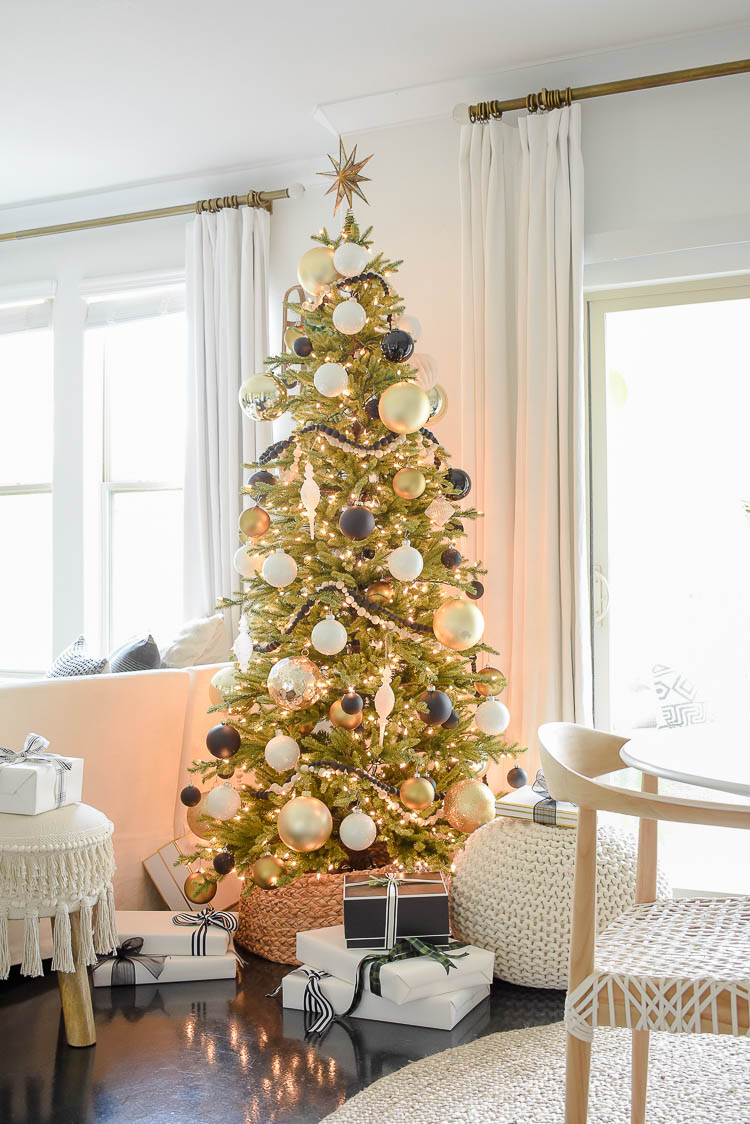 Black, white & gold modern Christmas living room tour - Pre-lit Christmas tree