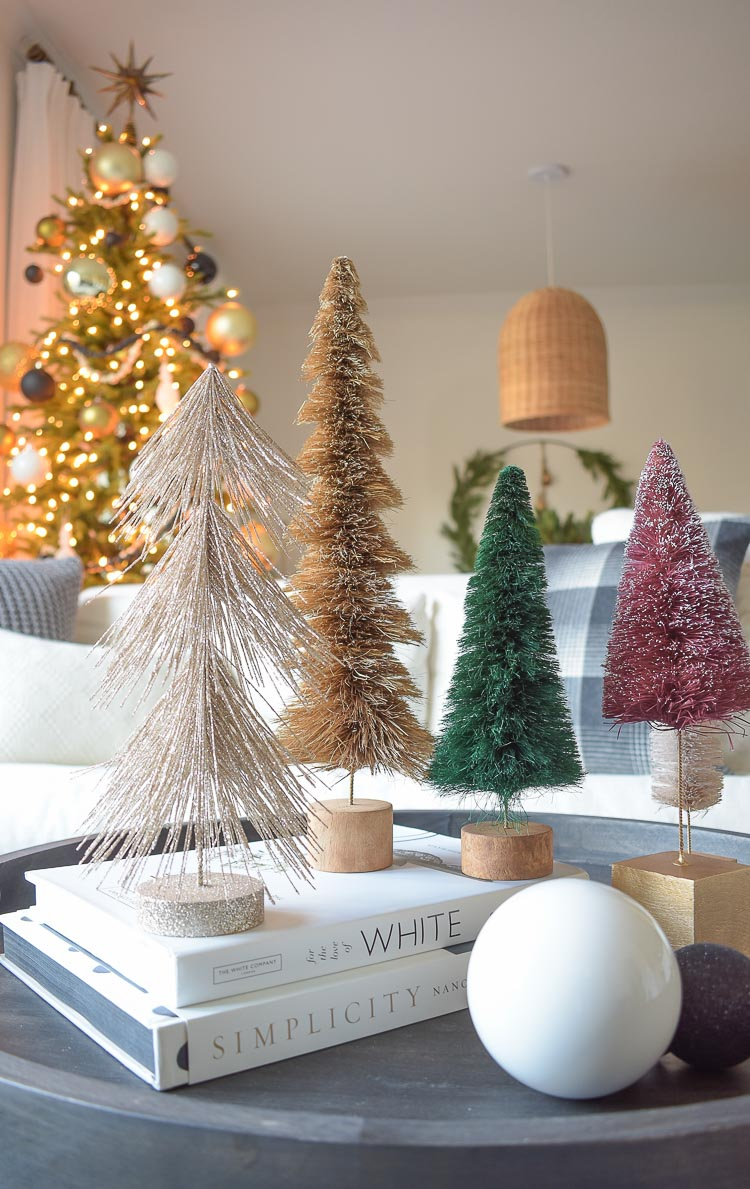 Black, white & gold modern Christmas living room tour - bottle brush trees