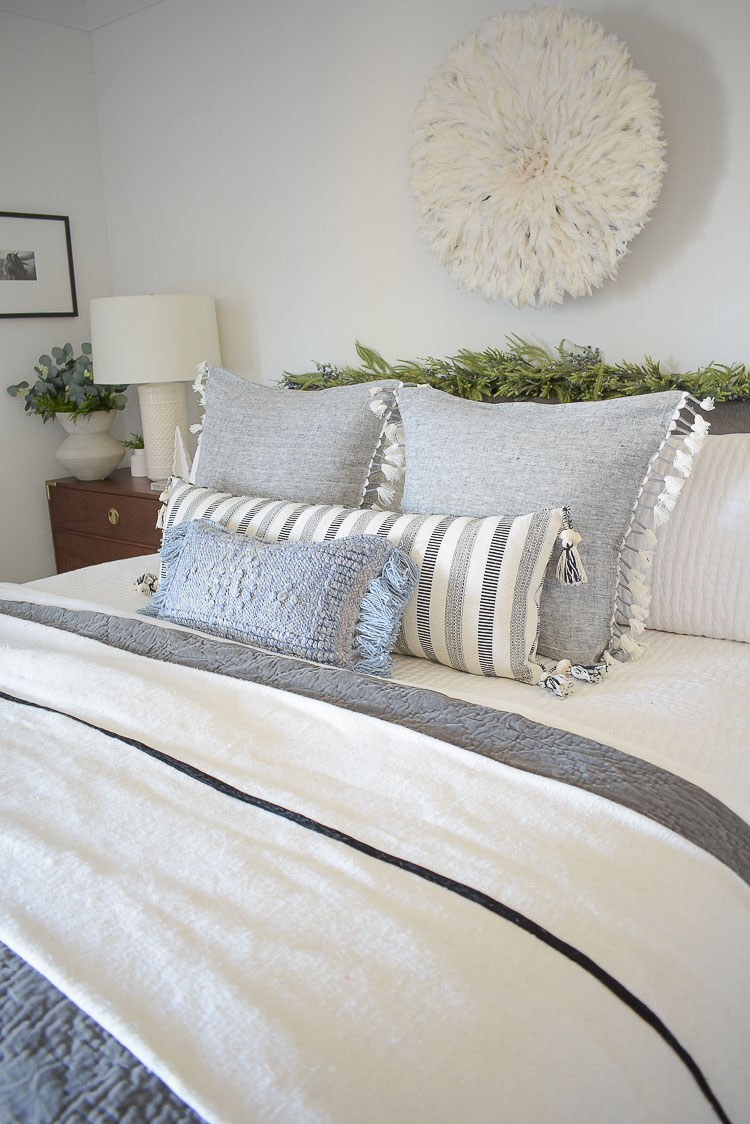 Holiday Bedroom Tour - textured and fringe pillows