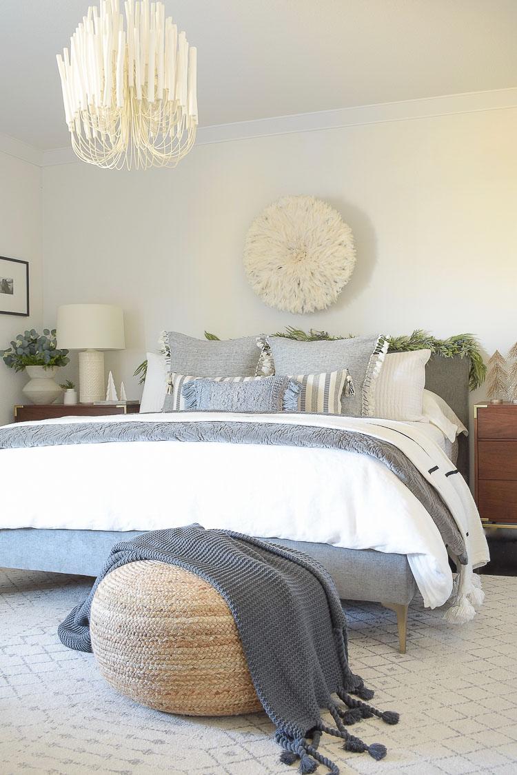 Boho Christmas Bedroom - large round jute pouf
