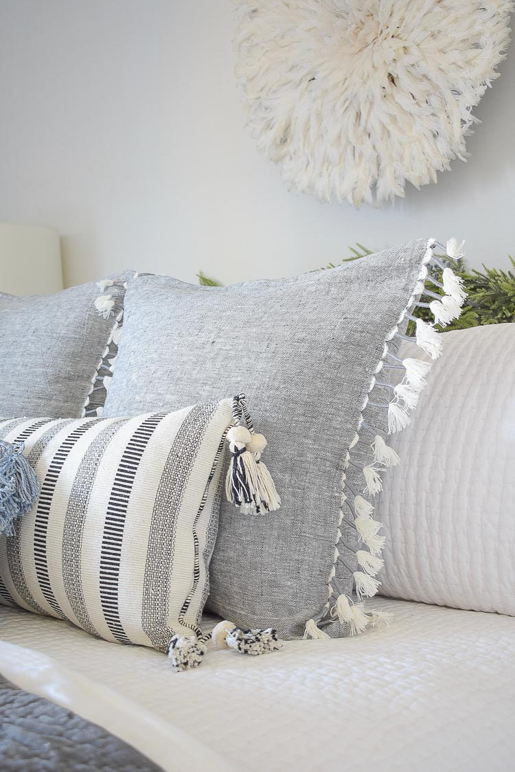 Holiday Bedroom Tour - fringe pillows