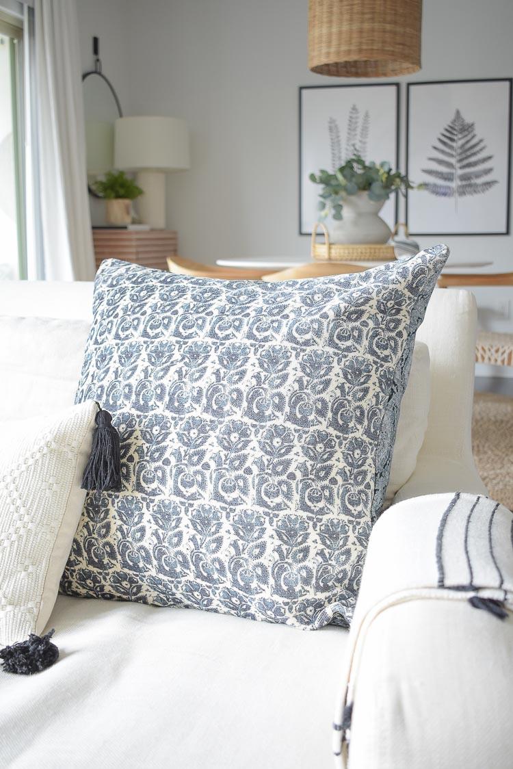 Winter Home Tour - navy blue jacquard pillow
