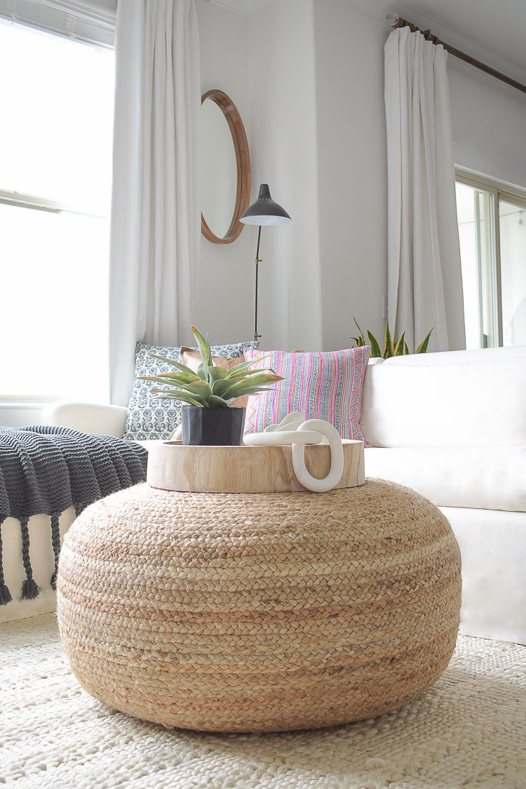 Winter home tour + tips - large jute pouf and accessories