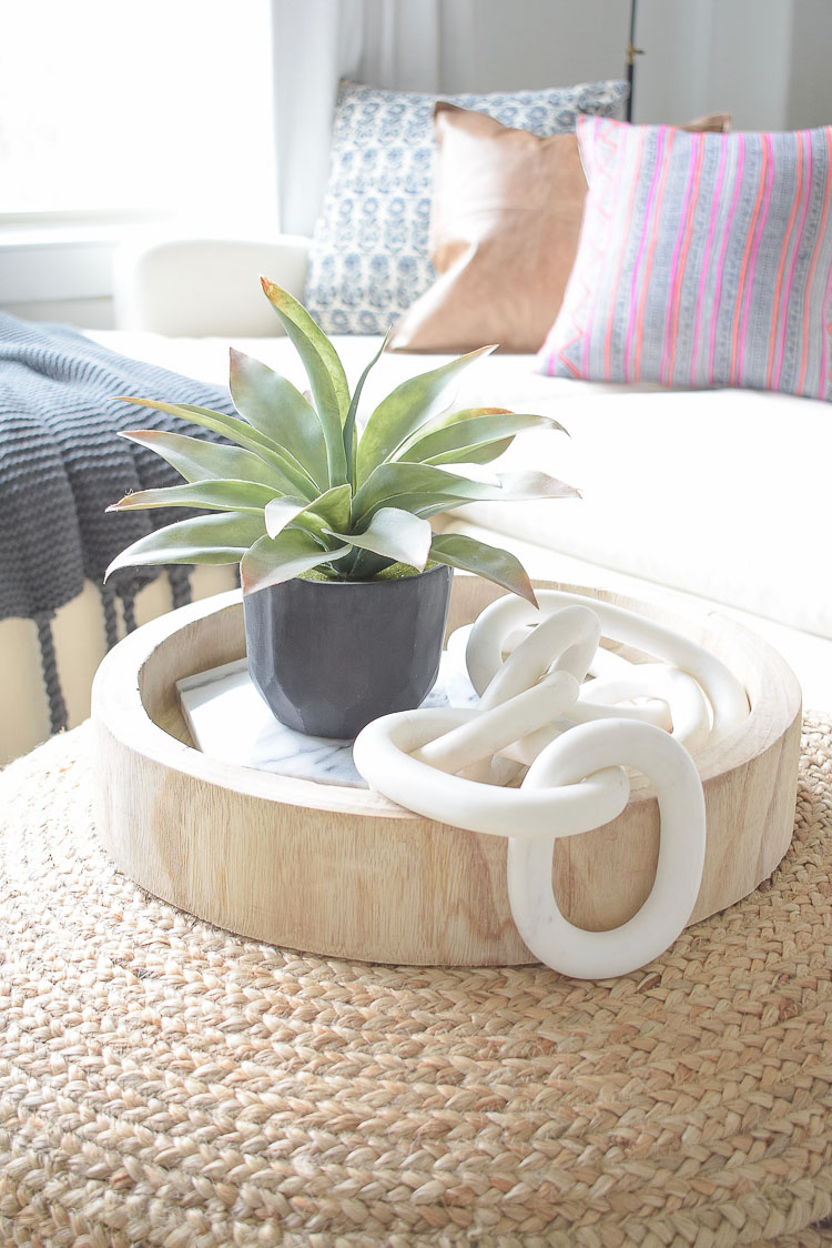 Winter Home Tour + tips to keep your home cozy for the season - marble chain, wooden tray, large succulent