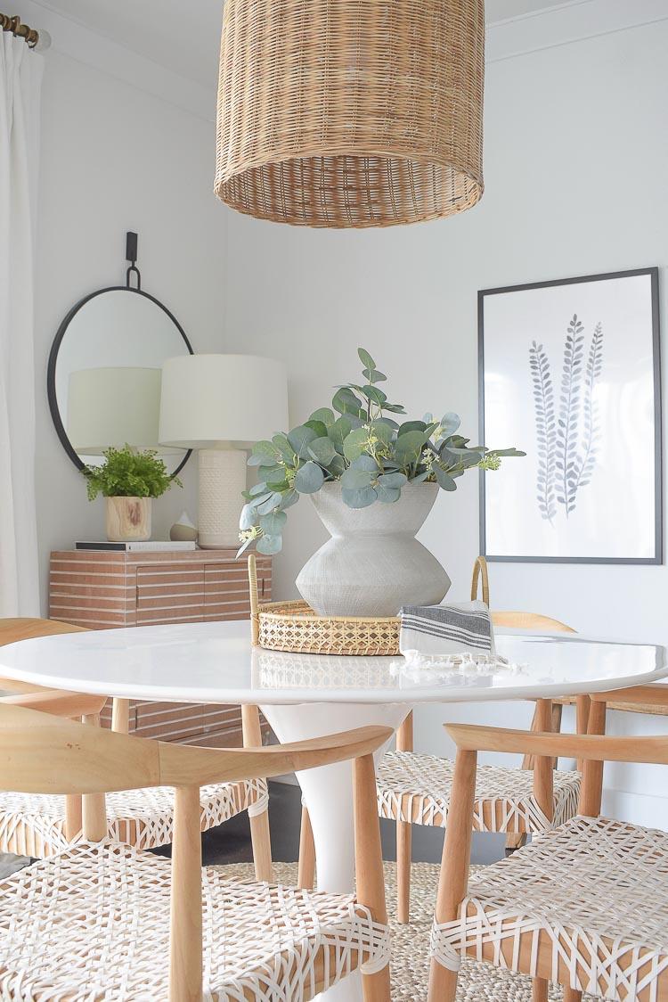Winter Home Tour - How to make a faux eucalyptus center piece