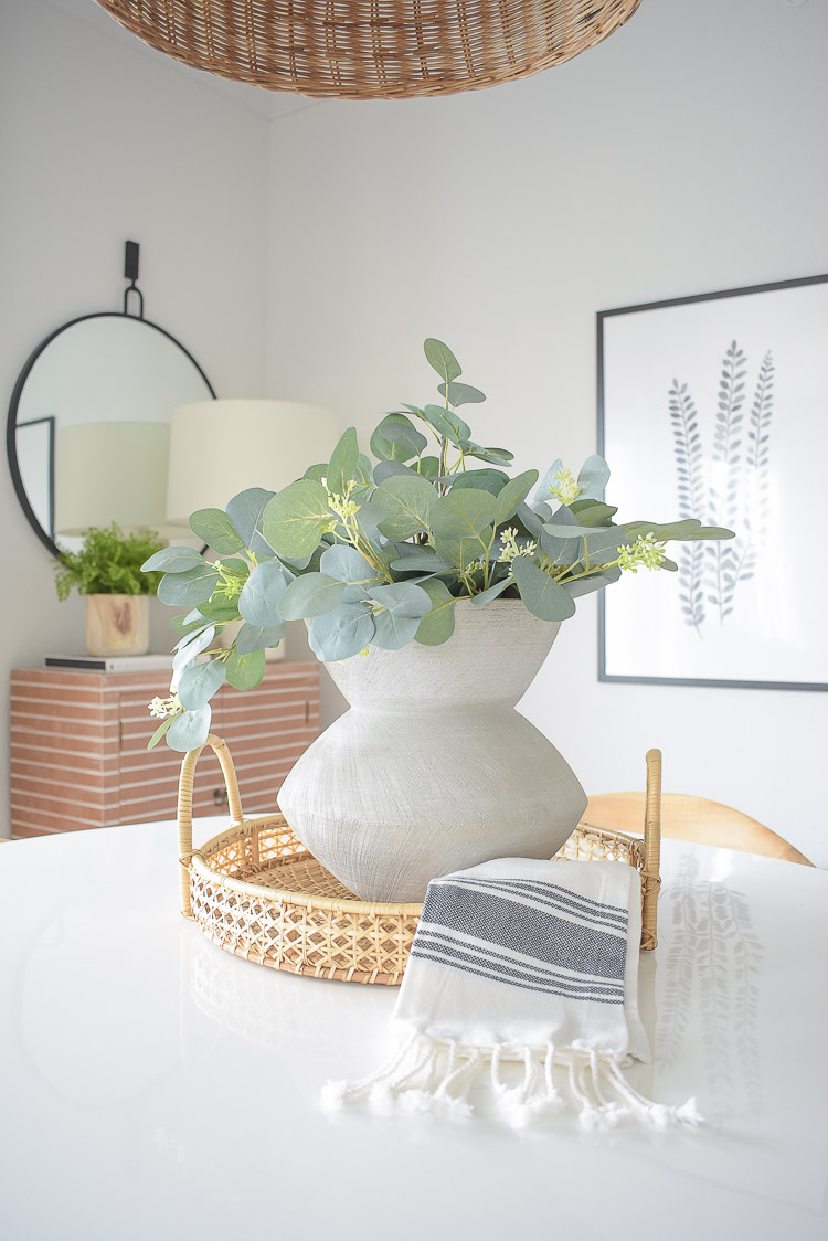 Winter Home Tour - Eucalyptus Center Piece with rattan tray and modern gray vase