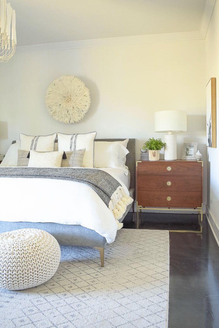 black and white spring bedroom tour - how to style your nightstands