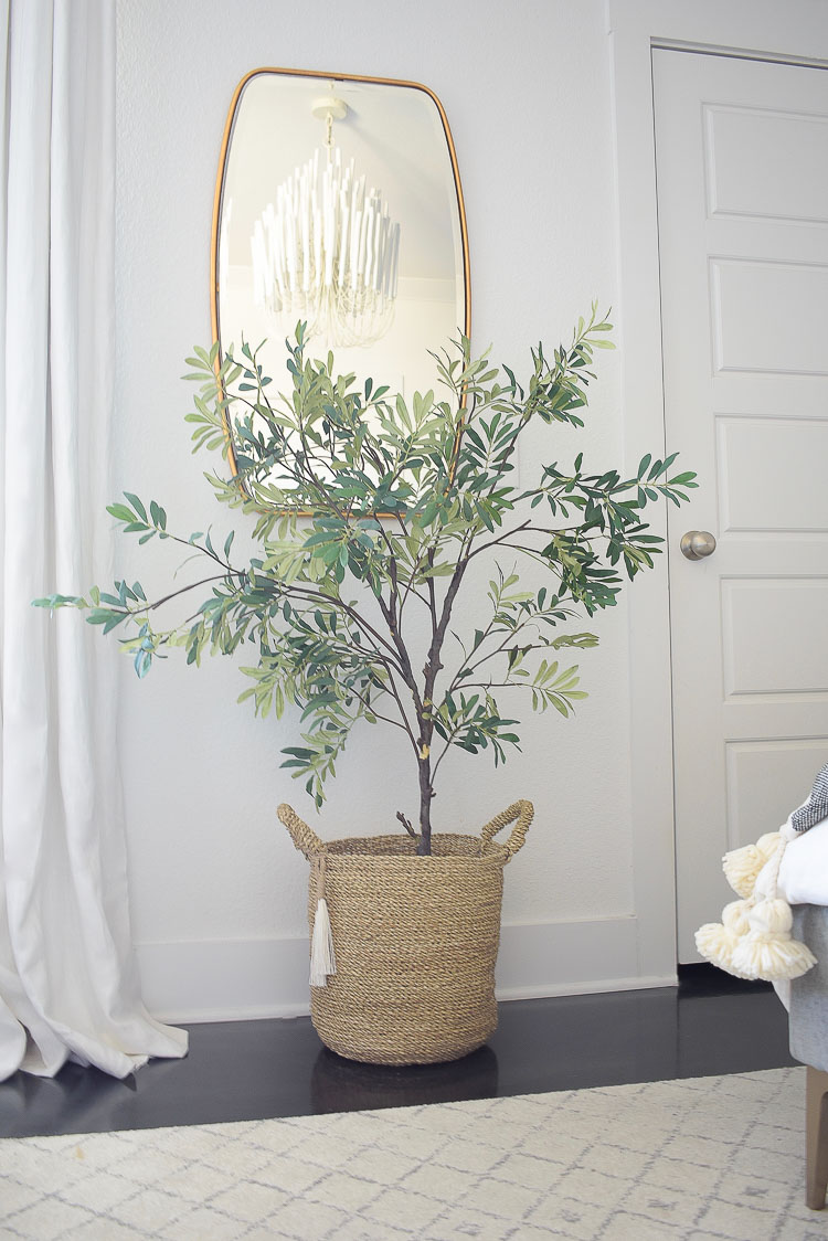 Best mid sized faux olive tree in a spring bedroom