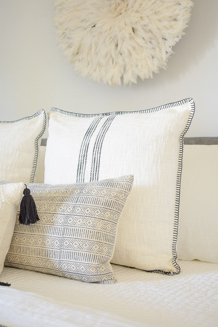 black and white boho pillows