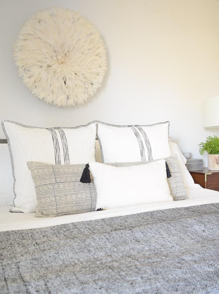 black and white boho spring pillows