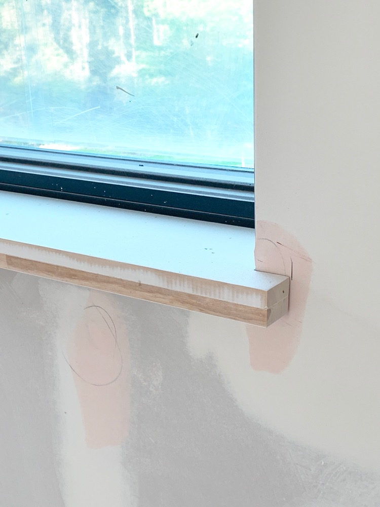 Modern Window Sill in Transitional Home under construction