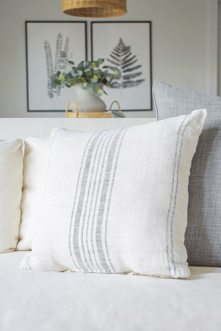 gray and white striped linen cotton pillow cover