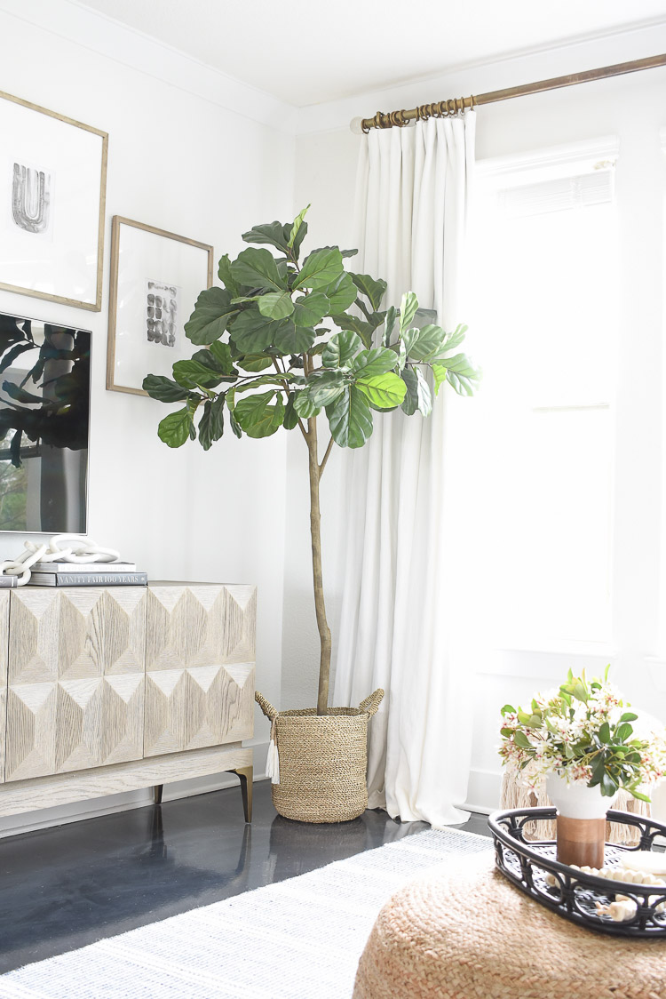Faux Fig Tree in Spring Living Room Tour