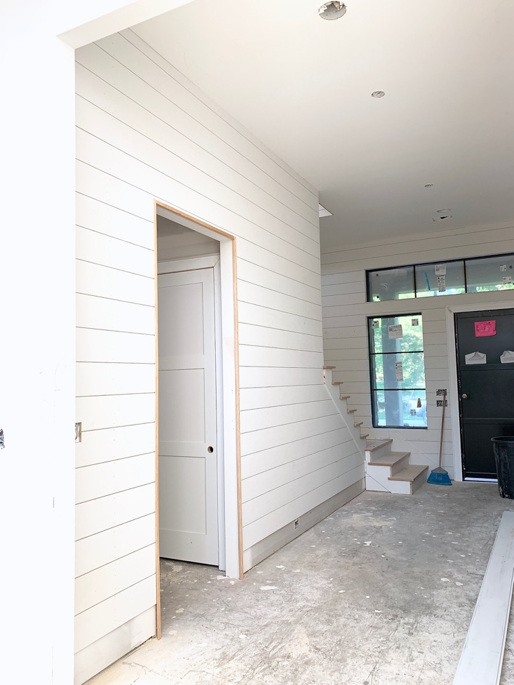 White Shiplap Hallway - Modern Farmhouse Home Under Construction