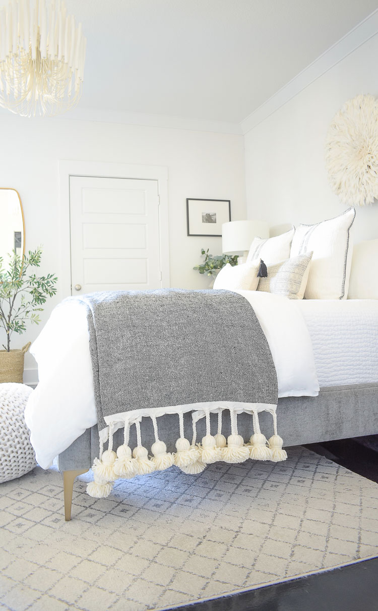 large black and white tassel throw in spring bedroom tour