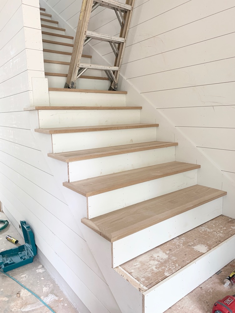 White oak stair treads, white shiplap