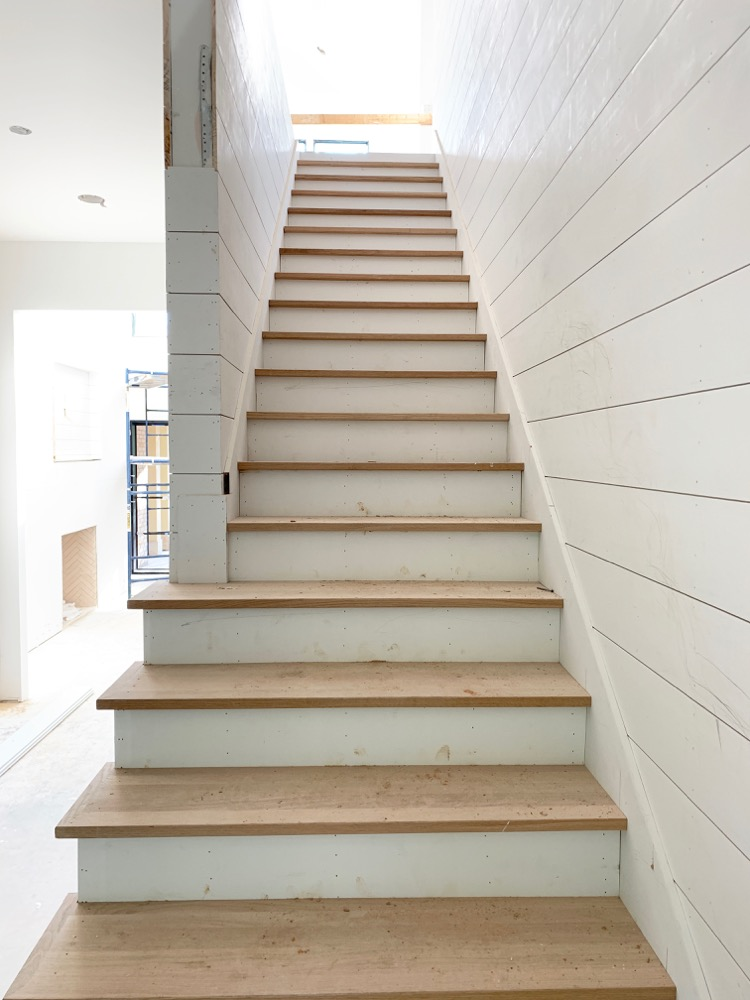 White oak stair treads and white shiplap