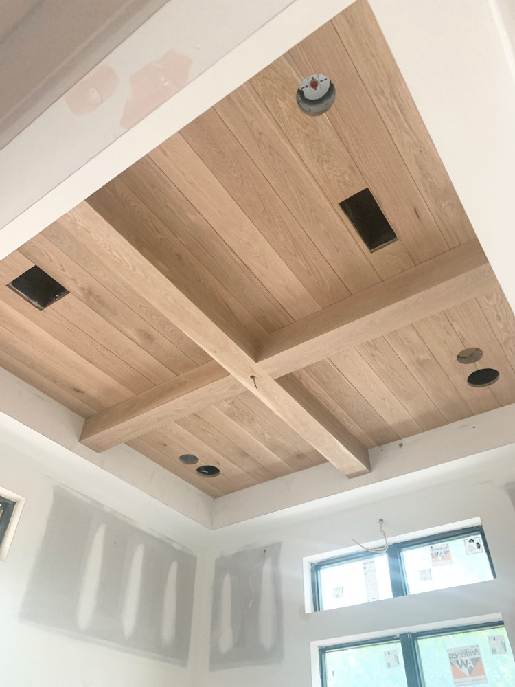 white oak ceiling with white oak box beams