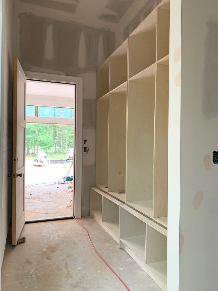 modern mudroom cabinets under construction