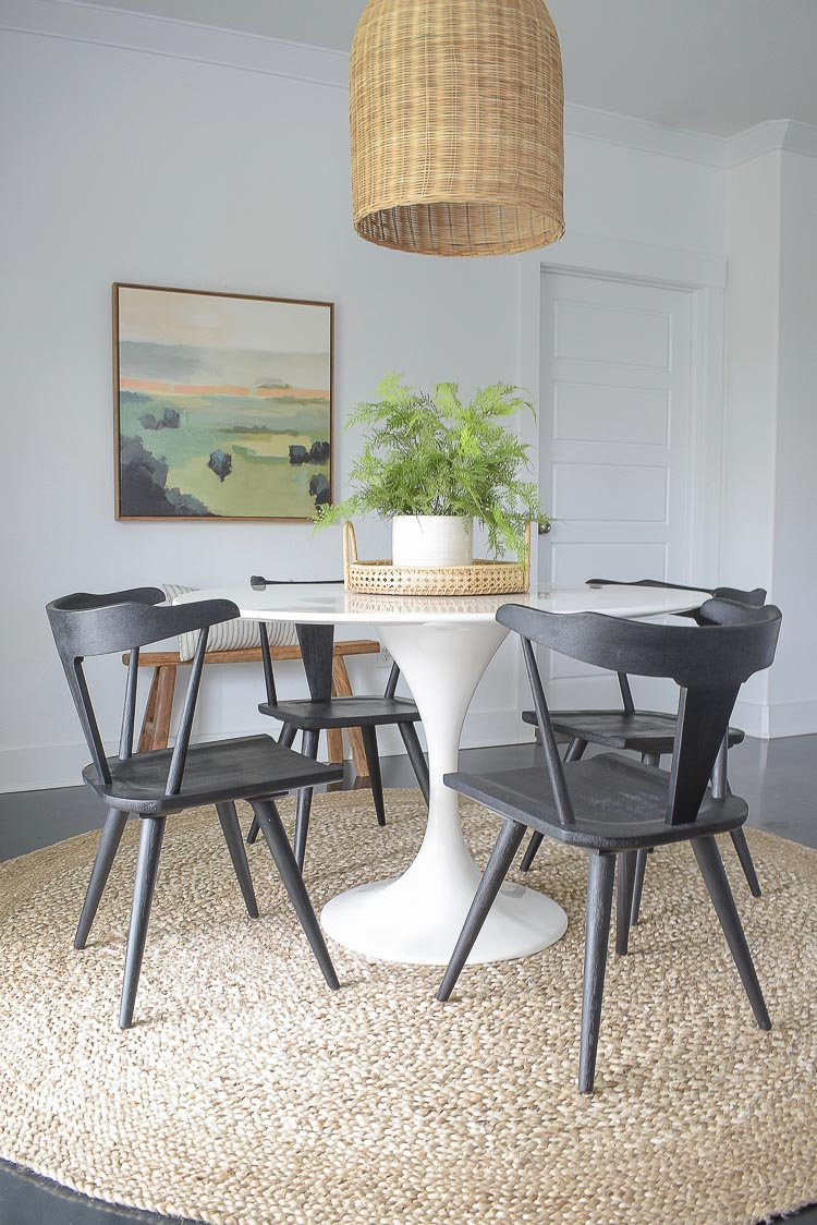 Black farmhouse Dining Chairs - modern boho chic dining room tour