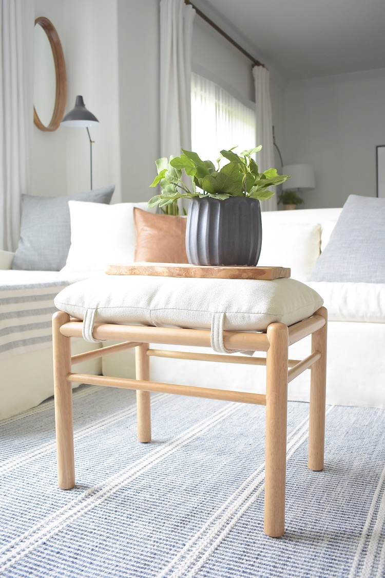 Studio McGee Wooden Stool - Styled by home decor blogger