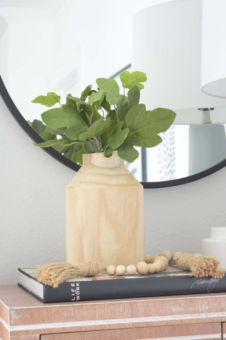 Studio McGee Wooden Vase with Faux Fig Stems
