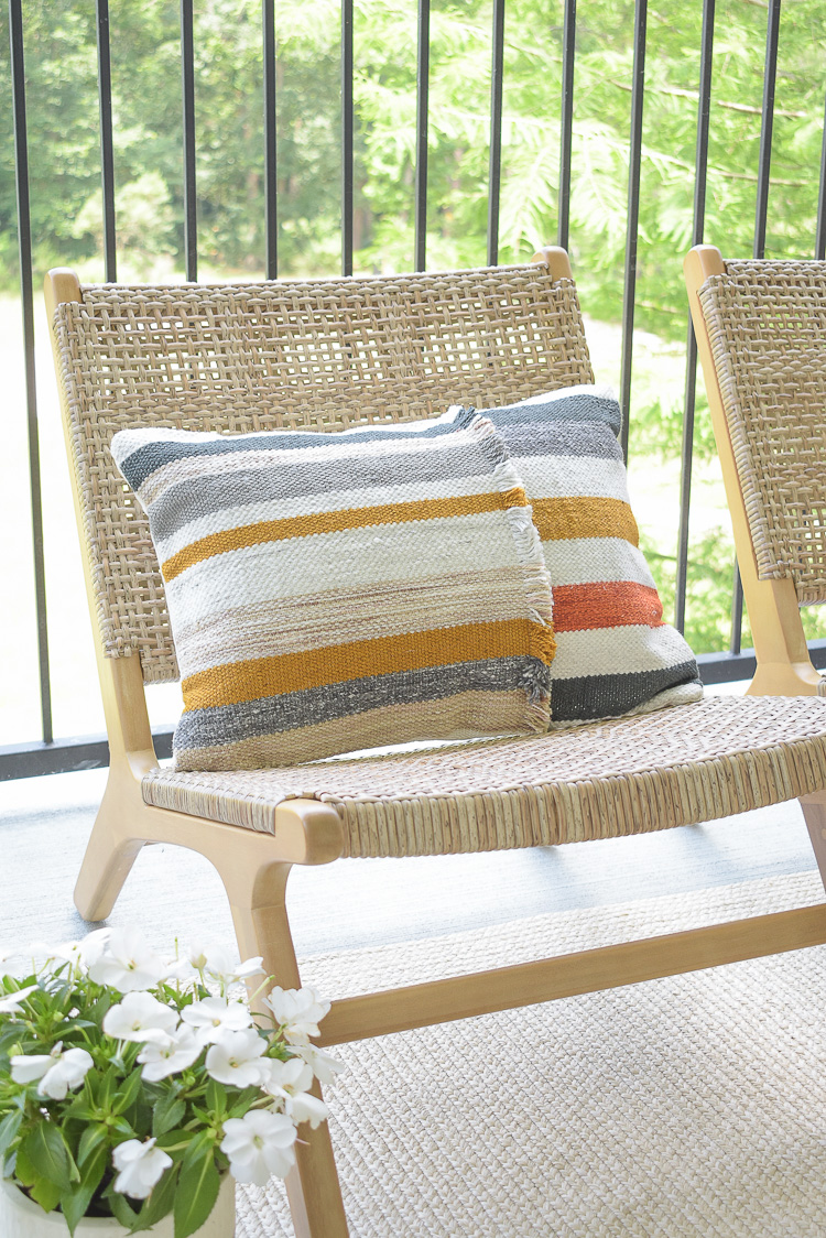 Outdoor modern boho striped pillow