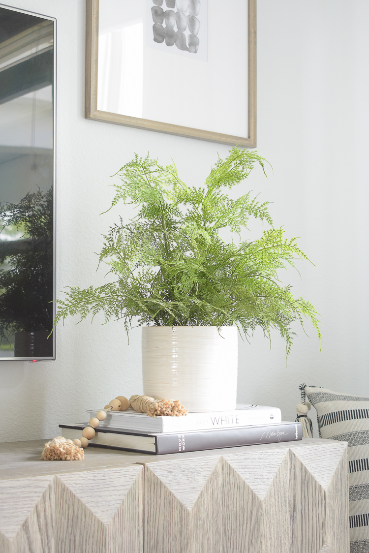 Summer decorating tips and home tour - faux studio mcgee fern in white pot