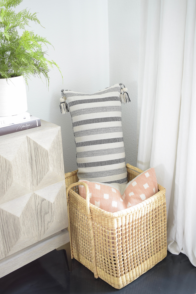 pillows styled in studio mcgee basket for target/threshold