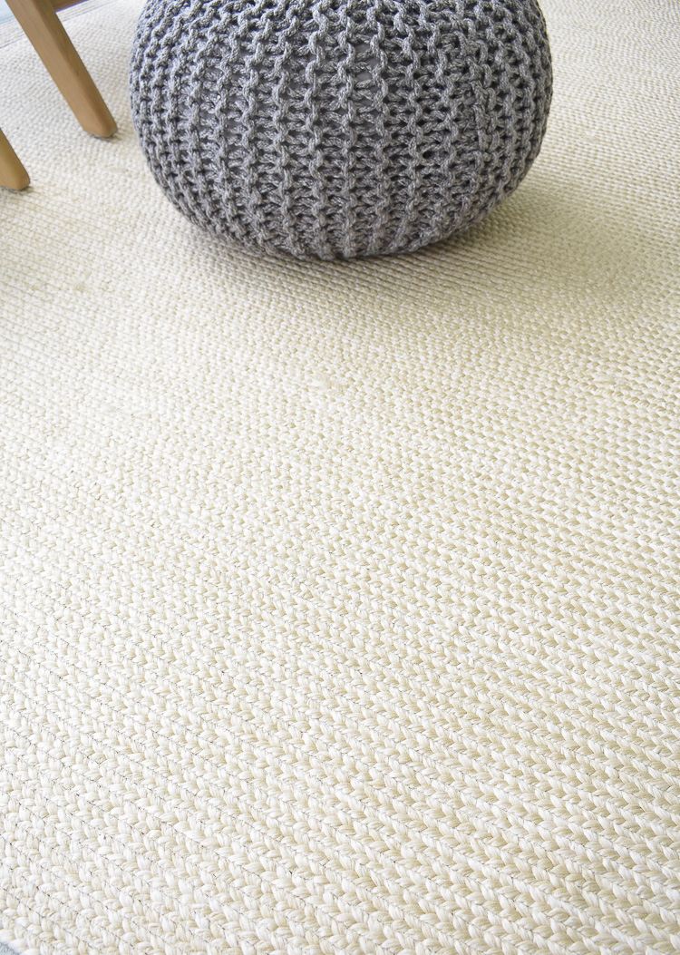 Tips for a stay at home patio refresh + tour - neutral outdoor rug with basketweave pattern