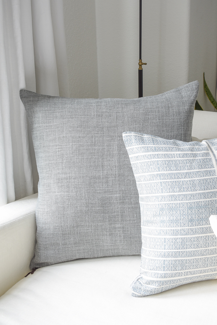 Gray Belgium Linen Pillow + how to decorate for summer