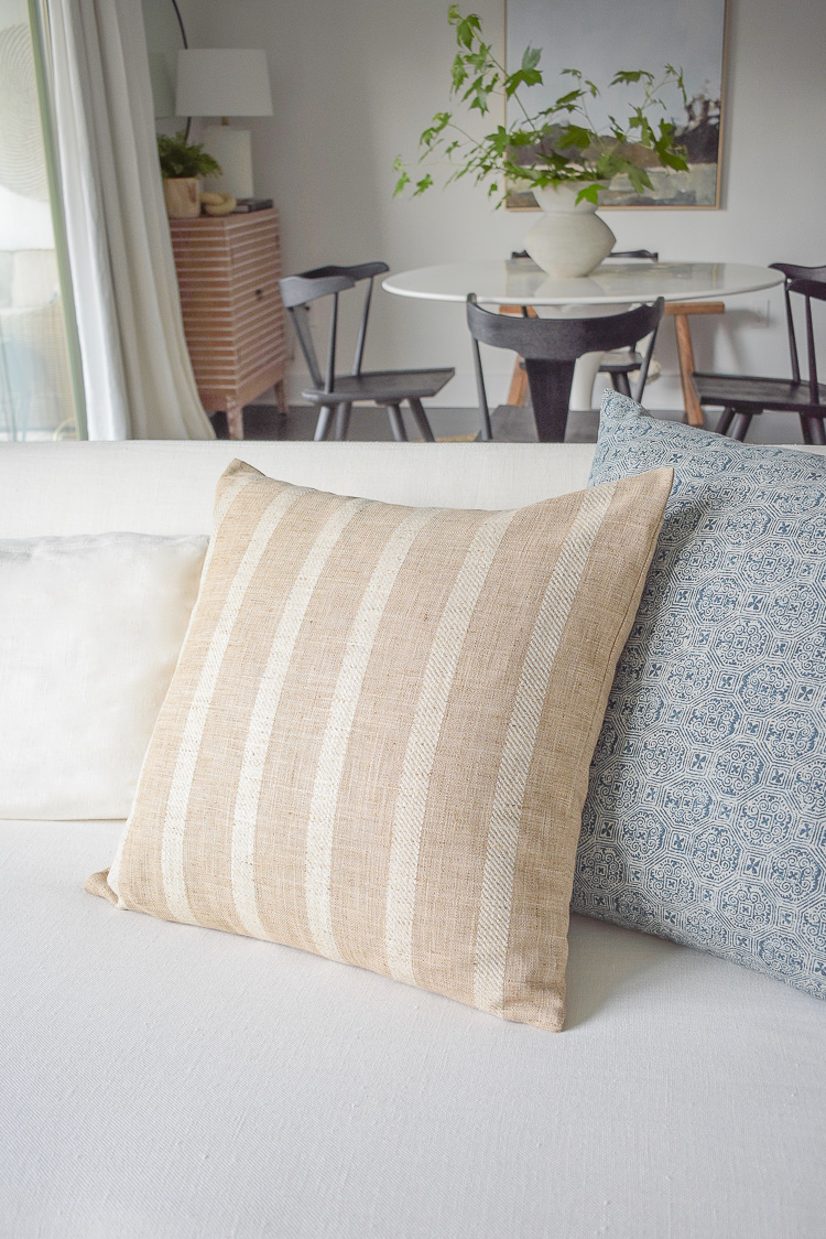 mcgee & co styled pillows on white linen sofa - summer home tour + tips