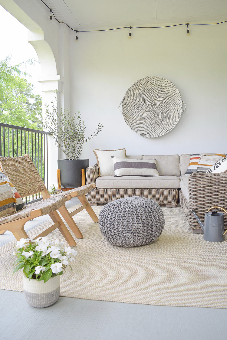 Stay At Home Patio Refresh Tips + Tour - Gray outdoor knit pouf