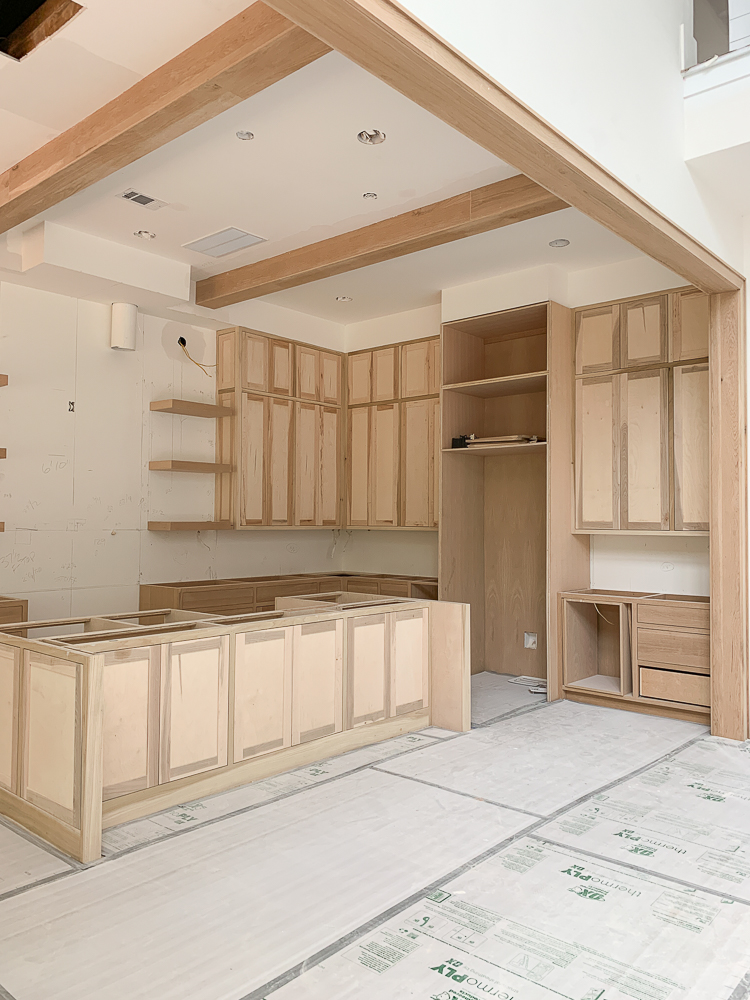 modern farmhouse kitchen white oak under construction
