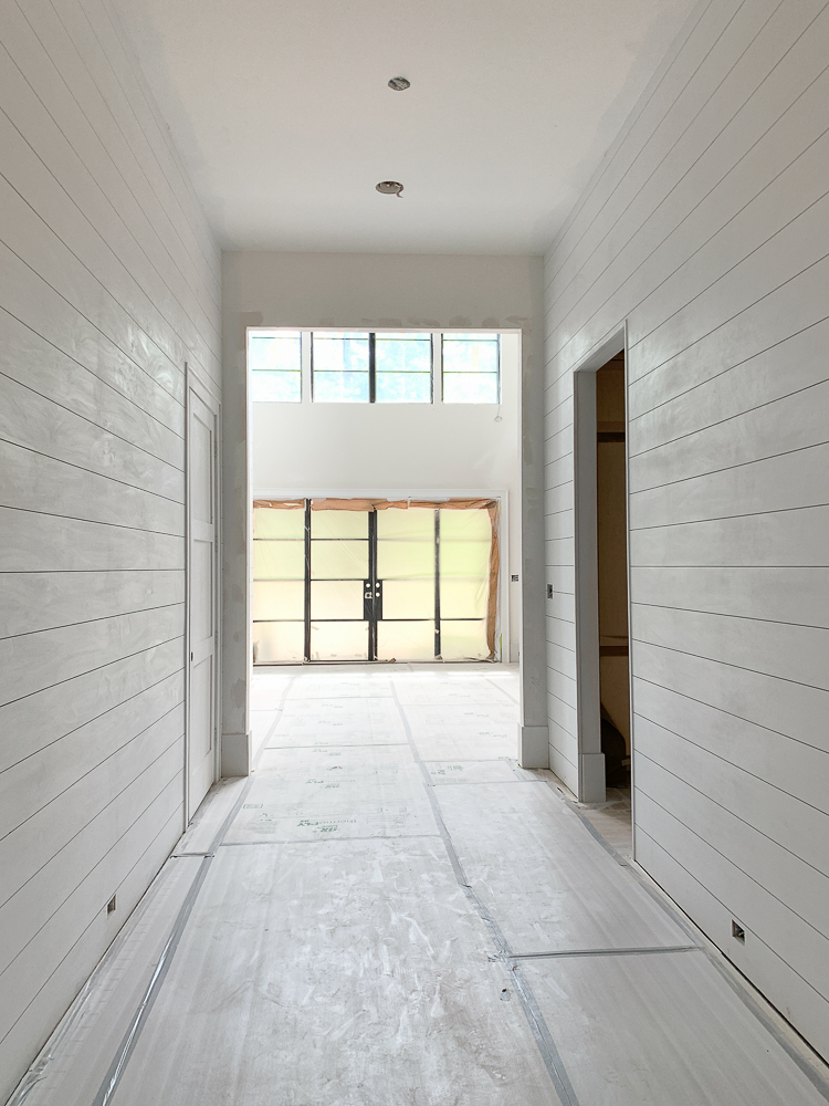 white shiplap hallway - modern farmhouse